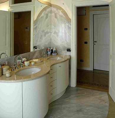 Top bagno in Marmo Iside Pearl