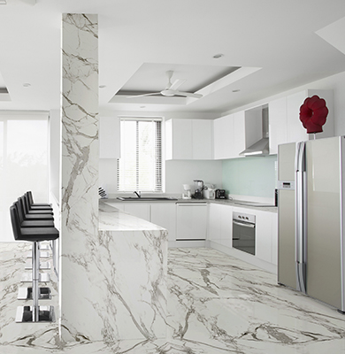 Top, pavimento, rivestimento in Dekton - Aura Bookmatch