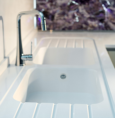 Top In Silestone Blanco Zeus con Lavello Integrity